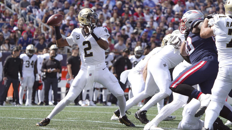 New Orleans Saints quarterback Jameis Winston (2) throws a pass during the second half of an NFL football game against the New England Patriots, Sunday, Sept. 26, 2021, in Foxborough, Mass. (AP Photo/Mary Schwalm)