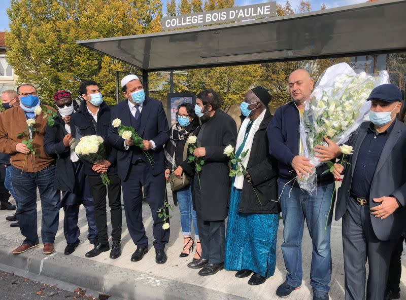 Imam of Drancy Hassen Chalghoumi attends a tribute to killed French teacher