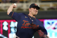 Minnesota Twins' relief pitcher Tyler Duffey throws against the Detroit Tigers in the sixth inning of a baseball game, Tuesday, Sept. 28, 2021, in Minneapolis. (AP Photo/Jim Mone)