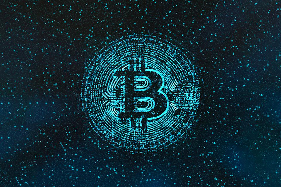 Digital Generated Image Of Illuminated Bitcoin