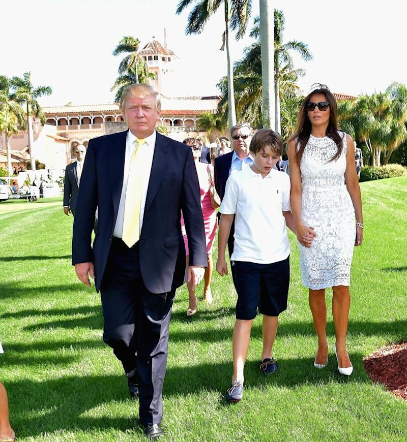 From left: Donald, Barron and Melania Trump in 2015 | Gustavo Caballero/Getty