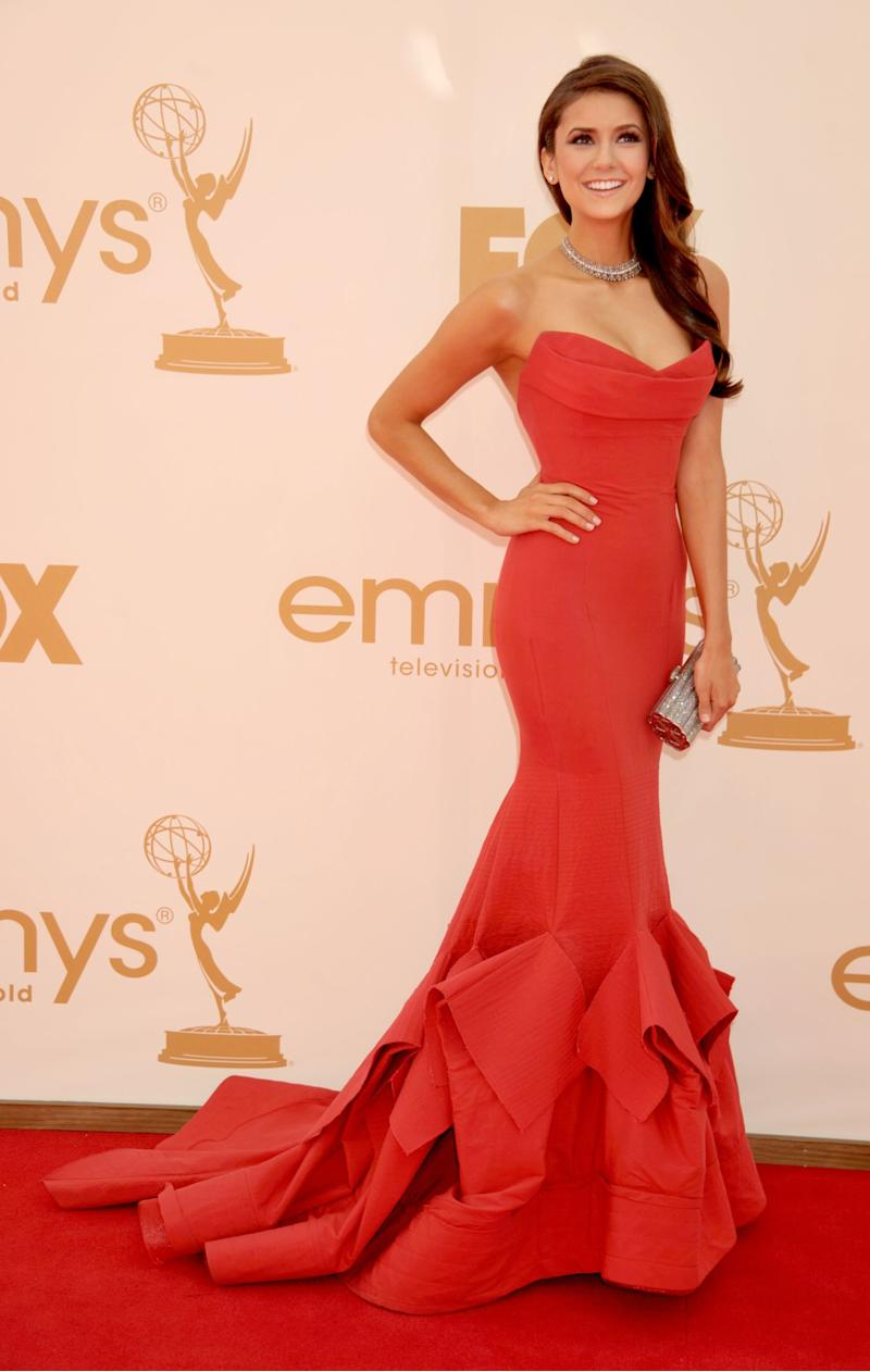 Nina Dobrev, in Donna Karan, arrives at the Academy of Television Arts & Sciences 63rd Primetime Emmy Awards at Nokia Theatre L.A. Live on September 18, 2011 in Los Angeles, California.