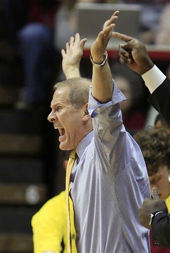 Michigan coach John Beilein argues a call during the first half of an NCAA college basketball game against Indiana Thursday, Jan. 5, 2012, in Bloomington, Ind. (AP Photo/Darron Cummings)