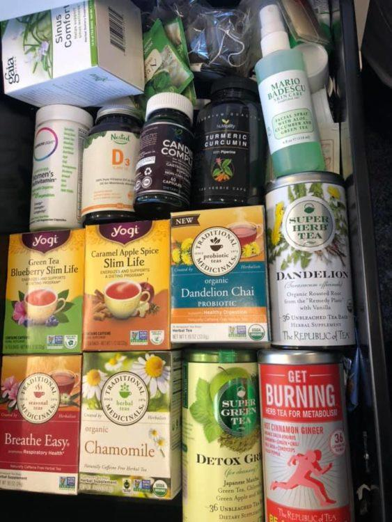 drawer filled with tea and vitamins