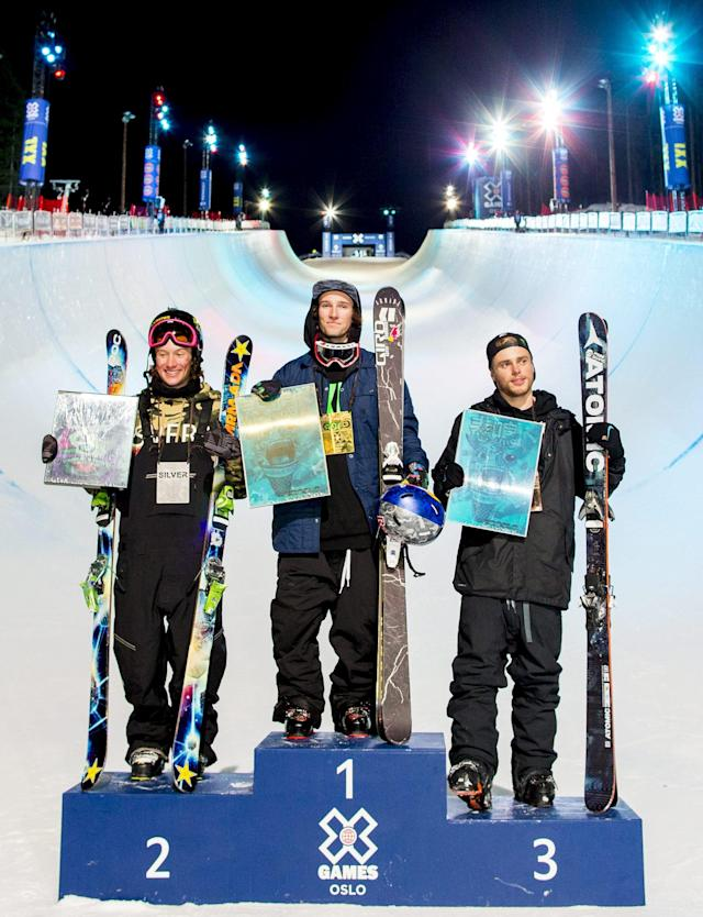 Silver medalist Alex Ferreira from the U.S., gold medalist Torin Yater-Wallace from the U.S. and bronze medalist Gus Kenworthy from the U.S. stand on the podium after the Men's Ski SuperPipe event at the X Games Oslo 2016, February 28, 2016. REUTERS/Vegard Wivestad Grott/NTB Scanpix ATTENTION EDITORS - THIS IMAGE WAS PROVIDED BY A THIRD PARTY. FOR EDITORIAL USE ONLY. NOT FOR SALE FOR MARKETING OR ADVERTISING CAMPAIGNS. THIS PICTURE IS DISTRIBUTED EXACTLY AS RECEIVED BY REUTERS, AS A SERVICE TO CLIENTS. NORWAY OUT. NO COMMERCIAL OR EDITORIAL SALES IN NORWAY. NO COMMERCIAL SALES.