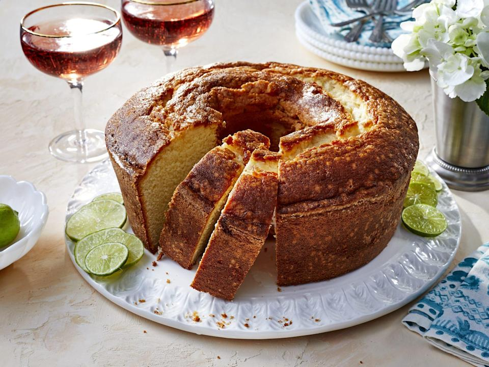 "<p><strong>Recipe: </strong><a href=""https://www.southernliving.com/recipes/key-lime-pound-cake"" rel=""nofollow noopener"" target=""_blank"" data-ylk=""slk:Key Lime Pound Cake"" class=""link rapid-noclick-resp""><strong>Key Lime Pound Cake</strong></a></p> <p>Regardless the season, our readers can't resist this Key Lime Pound Cake recipe, and we understand why. It's like a tropical vacation is sitting on your cake stand!</p>"