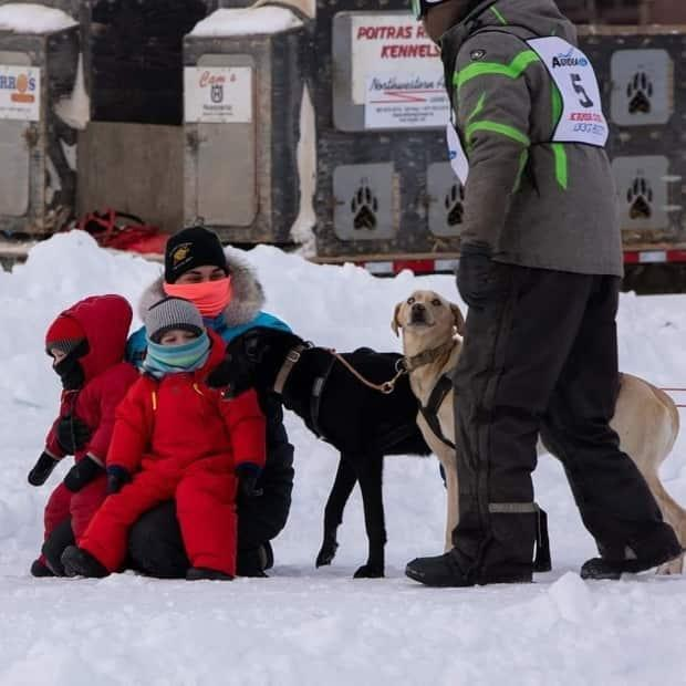Jordee Reid and her family at the K'amba Carnival sled dog race in Hay River, N.W.T. in March 2020.