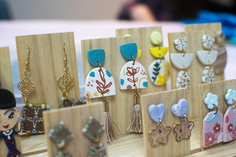 A display of completed clay earrings