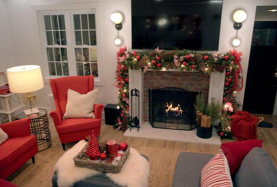 In one episode, Bradley brings in red furniture to make a living room all the more festive.