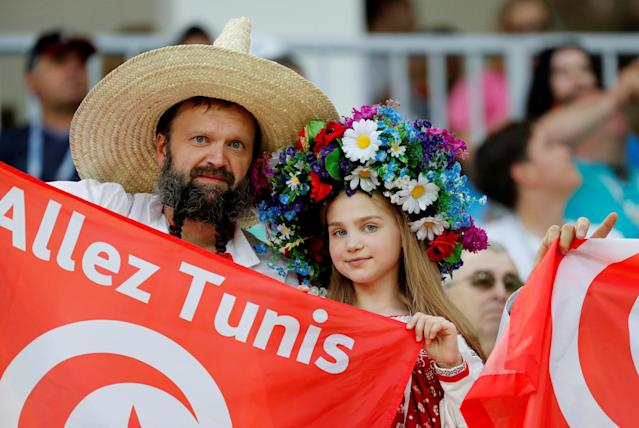 Soccer Football - World Cup - Group G - Tunisia vs England - Volgograd Arena, Volgograd, Russia - June 18, 2018 Tunisia fans inside the stadium before the match REUTERS/Toru Hanai