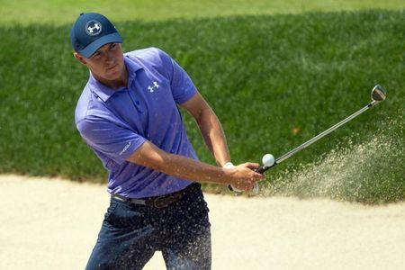 Jun 23, 2017; Cromwell, CT, USA; Jordan Spieth hits out of a sand bunker on the 18th hole during the second round of the Travelers Championship golf tournament at TPC River Highlands. Mandatory Credit: Bill Streicher-USA TODAY Sports