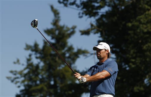 Sweden's Mikael Lundberg cocentrates before teeing of during the final round of the Czech Open European PGA golf tournament in Celadna, Czech Republic, Sunday, Aug. 21, 2011. Lundberg took the second place behind England's Oliver Fisher. (AP Photo/Petr David Josek)