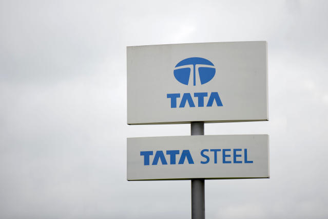 A Tata Steel steelworks sign seen in Newport, Wales. Photo: Matthew Horwood/Getty Images