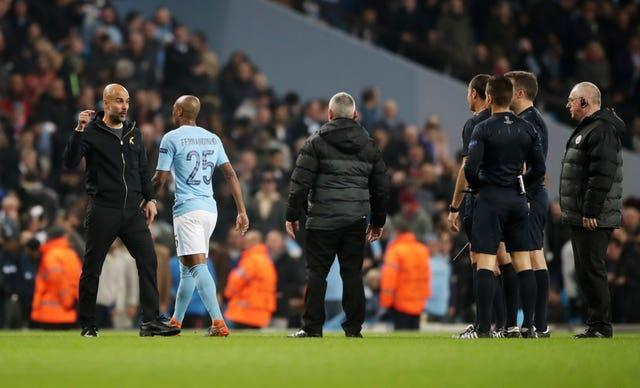 Guardiola clashed with Lahoz in 2018