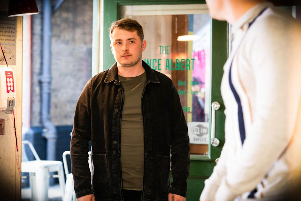 WARNING: Embargoed for publication until 00:00:01 on 25/05/2021 - Programme Name: EastEnders - April-June 2021 - TX: 04/06/2021 - Episode: EastEnders - April-June 2021- 6284 (No. 6284) - Picture Shows: ***EMBARGOED TILL TUESDAY 25TH MAY 2021*** Ben Mitchell (MAX BOWDEN), Fitzy (SAM BUCHANAN) - (C) BBC - Photographer: Kieron McCarron/Jack Barnes