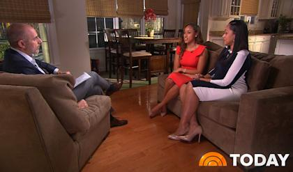 Matt Lauer, left, interviews Janay Rice, center, and her mother, Candy Palmer. (AP/The Today Show)