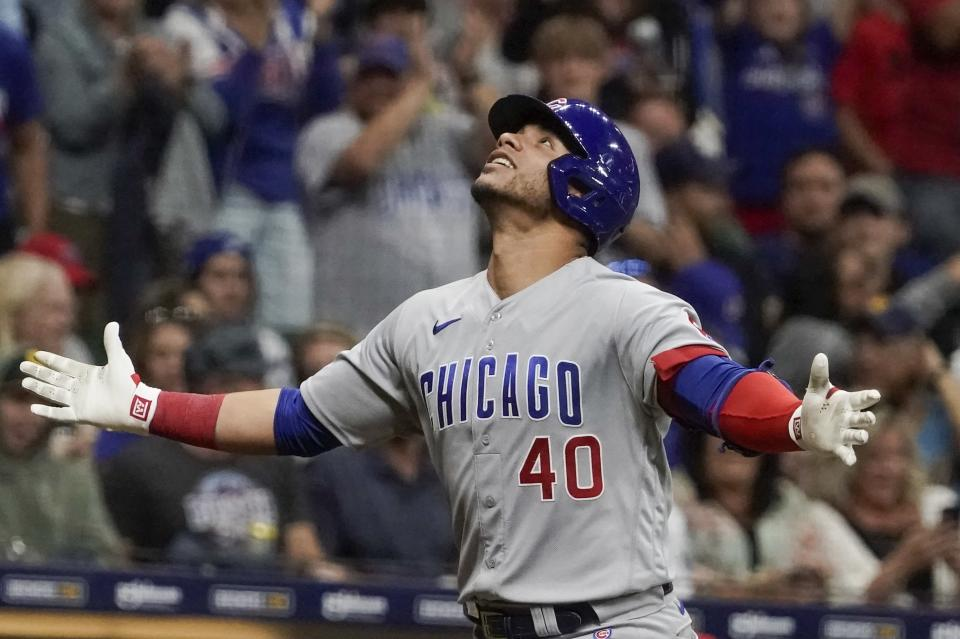 Chicago Cubs' Willson Contreras reacts after hitting a home run during the seventh inning of a baseball game against the Milwaukee Brewers Saturday, Sept. 18, 2021, in Milwaukee. (AP Photo/Morry Gash)