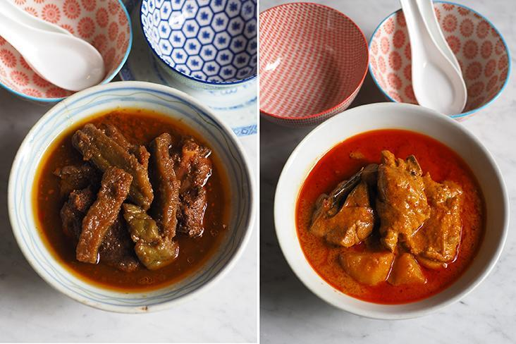 Their bitter gourd is braised until tender with meaty pork ribs (left). Curry chicken with potatoes is rich with coconut milk and fragrant with the spices (right)