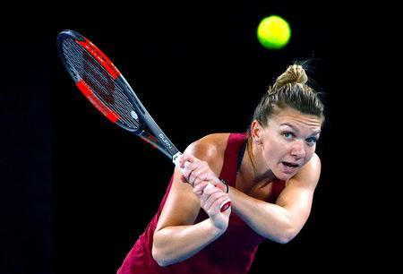 Tennis - Australian Open - Melbourne Park, Melbourne, Australia, January 12, 2018. Romania's Simona Halep hits a shot during a practice session ahead of the Australian Open tennis tournament. REUTERS/David Gray