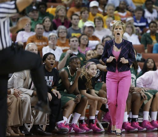 Baylor coach Kim Mulkey, right, reacts to an officials call during the first half of an NCAA college basketball game, Saturday, Feb. 9, 2013, in Austin, Texas. (AP Photo/Eric Gay)