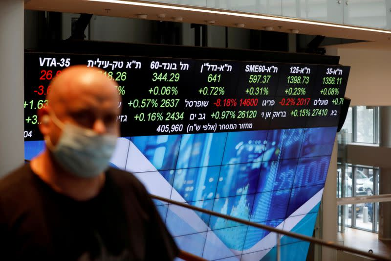 FILE PHOTO: FILE PHOTO: A man wearing a face mask stands near an electronic board displaying market data at the Tel Aviv Stock Exchange, in Tel Aviv