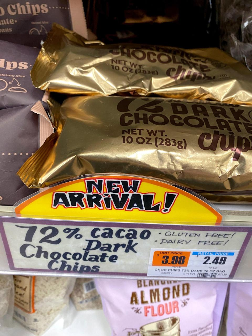 <p>One 10-ounce package of Trader's Joe's 72% Cacao Dark Chocolate Chips costs $2.50. The Semi-Sweet Chocolate chips are a litter cheaper at $2 for a 12-ounce bag. For a little extra money, the Dark Chocolate Chips are definitely worth it!</p>