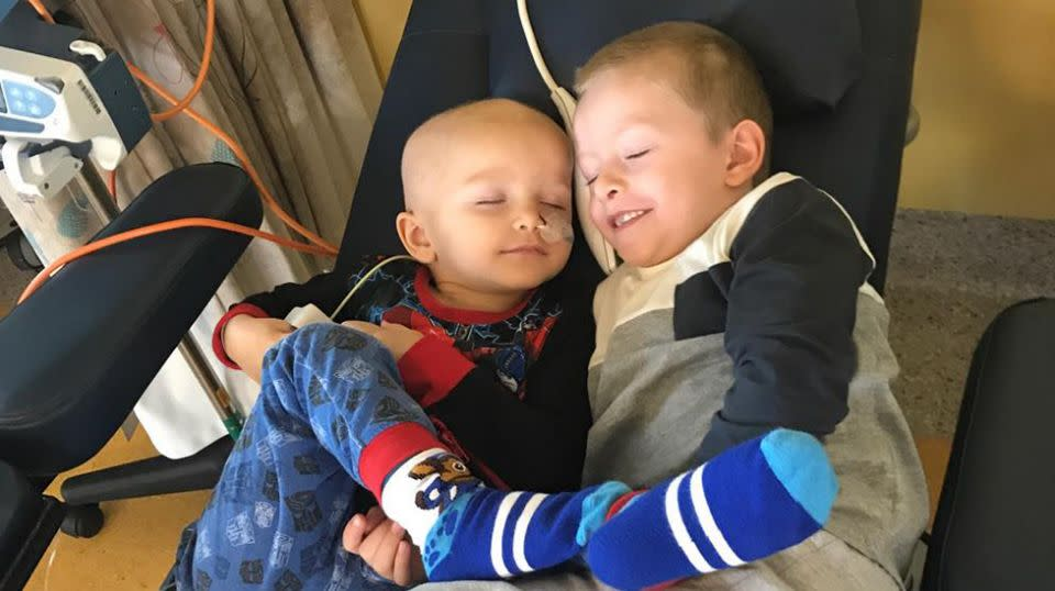 Ryder shares a cuddle his big brother Caden. Source: Supplied