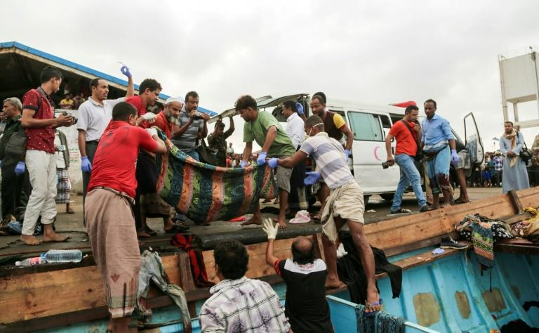 Bodies of people who were killed in a boat carrying Somali refugees arrive in the rebel-held Yemeni port city of Hodeida March 17, 2017