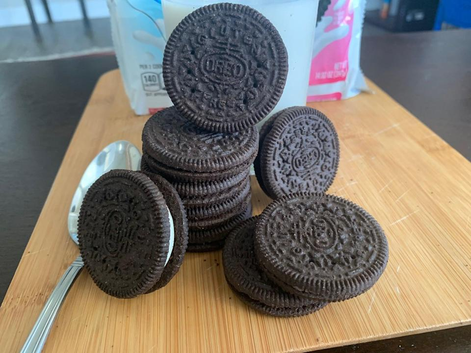 """<p>Minor details aside, the gluten-free Oreos are just as delicious and satisfying as the regular Oreos that I remember. As someone who loves to bake, I'm already imagining all of the dessert possibilities: <a href=""""https://www.popsugar.com/food/oreo-dump-cake-recipe-tiktok-videos-48026722"""" class=""""link rapid-noclick-resp"""" rel=""""nofollow noopener"""" target=""""_blank"""" data-ylk=""""slk:Oreo dump cake"""">Oreo dump cake</a>, <a href=""""https://www.popsugar.com/food/Oreo-Churro-Recipe-36240722"""" class=""""link rapid-noclick-resp"""" rel=""""nofollow noopener"""" target=""""_blank"""" data-ylk=""""slk:Oreo churros"""">Oreo churros</a>, <a href=""""https://www.popsugar.com/food/easy-oreo-cream-cheese-ball-recipe-tiktok-video-47382449"""" class=""""link rapid-noclick-resp"""" rel=""""nofollow noopener"""" target=""""_blank"""" data-ylk=""""slk:Oreo cream cheese balls"""">Oreo cream cheese balls</a>, and more. Now, if you'll excuse me, I'm going to think up more Oreo desserts while I snack on these straight out of the package.</p>"""