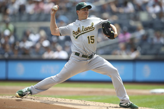 Oakland Athletics starting pitcher Homer Bailey delivers against the New York Yankees during the first inning, Saturday, Aug. 31, 2019, in New York. (AP Photo/Mary Altaffer)