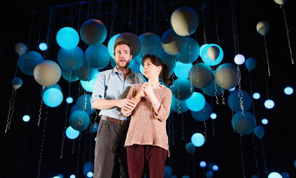 Sally Hawkins (as Marianne) and Rafe Spall (as Roland) in Constellations