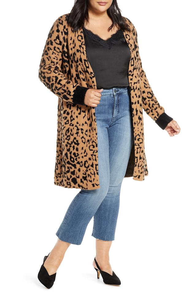 "We can't get enough of leopard print everything, and this knee-length cardi is the perfect topper for pretty much all your favorite winter pieces. $129, Nordstrom. <a href=""https://shop.nordstrom.com/s/1-state-leopard-jacquard-eyelash-cardigan-plus-size/5270792/full?origin=category-personalizedsort&breadcrumb=Home%2FSale%2FCyber%20Monday&color=wild%20oak"">Get it now!</a>"