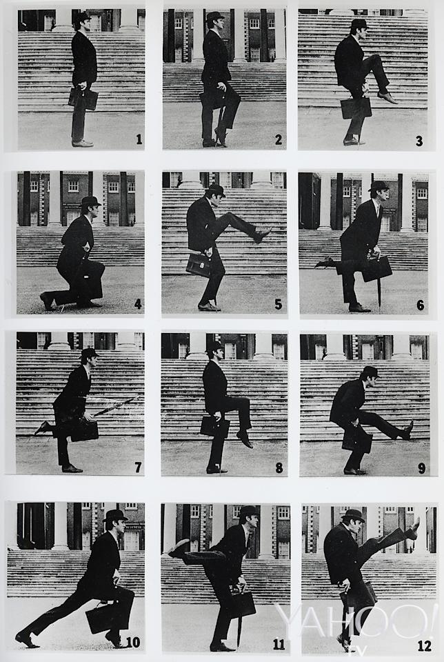 "<p>John Cleese offers a step-by-step demonstration of his silly walk for the <a rel=""nofollow"" href=""https://www.youtube.com/watch?v=iV2ViNJFZC8"">""Ministry of Silly Walks"" sketch</a>, London, circa 1970. (Credit: Abrams Books) </p>"