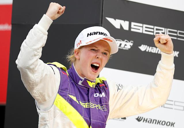 Alice Powell celebrates winning the W Series race at Brands Hatch (Credit: REUTERS/Matthew Childs)