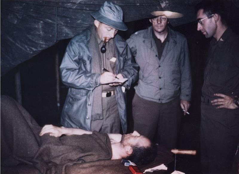 Crosby visiting the wounded during World War II. | Courtesy of the Crosby Family