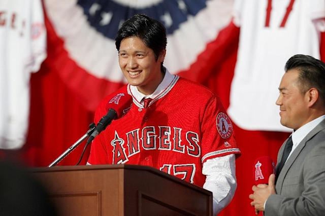 Shohei Ohtani is introduced as a Los Angeles Angels player (AFP Photo/Josh Lefkowitz)