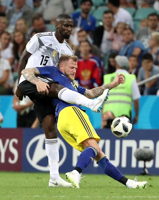 Soccer Football - World Cup - Group F - Germany vs Sweden - Fisht Stadium, Sochi, Russia - June 23, 2018 Sweden's John Guidetti in action with Germany's Antonio Rudiger REUTERS/Francois Lenoir