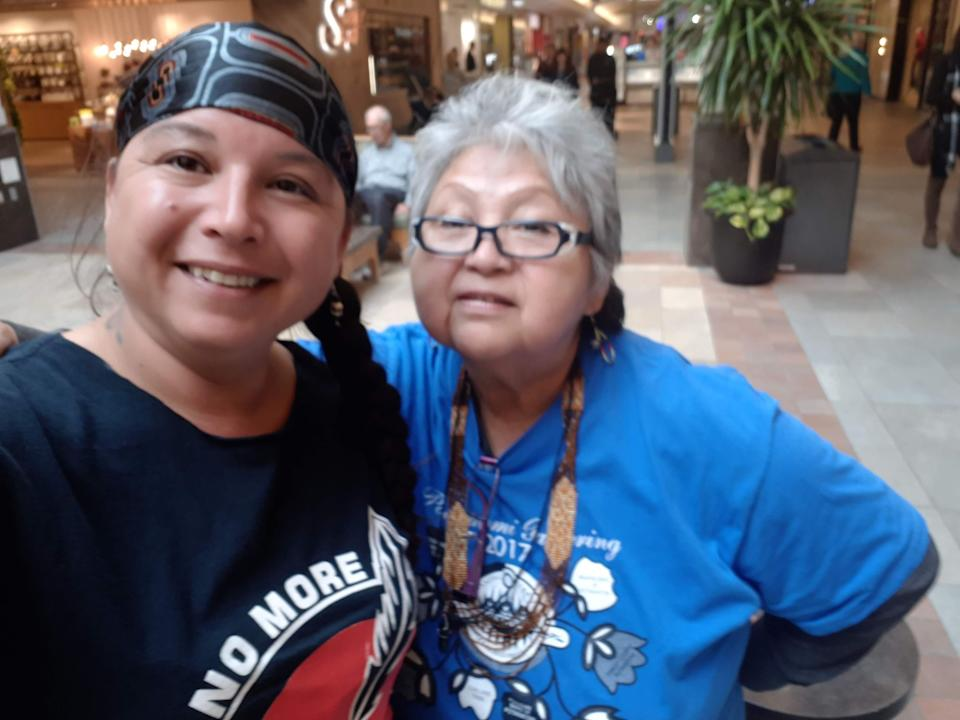 Tori Cress, co founder of Idle No More-Ontario, with her mom at an Idle No More event at Kozlov Mall in Barrie. Tori's mom had started taking her to rallies during the so-called Oka Crisis when Tori was 12 and 13.