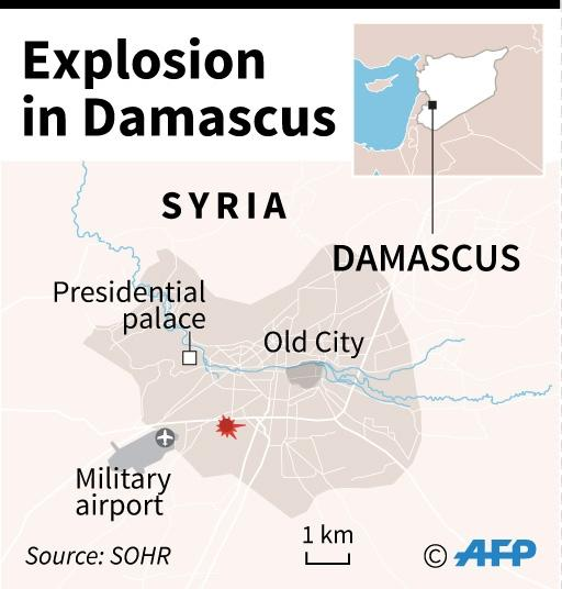 Map locating explosion in Damascus (AFP Photo/)
