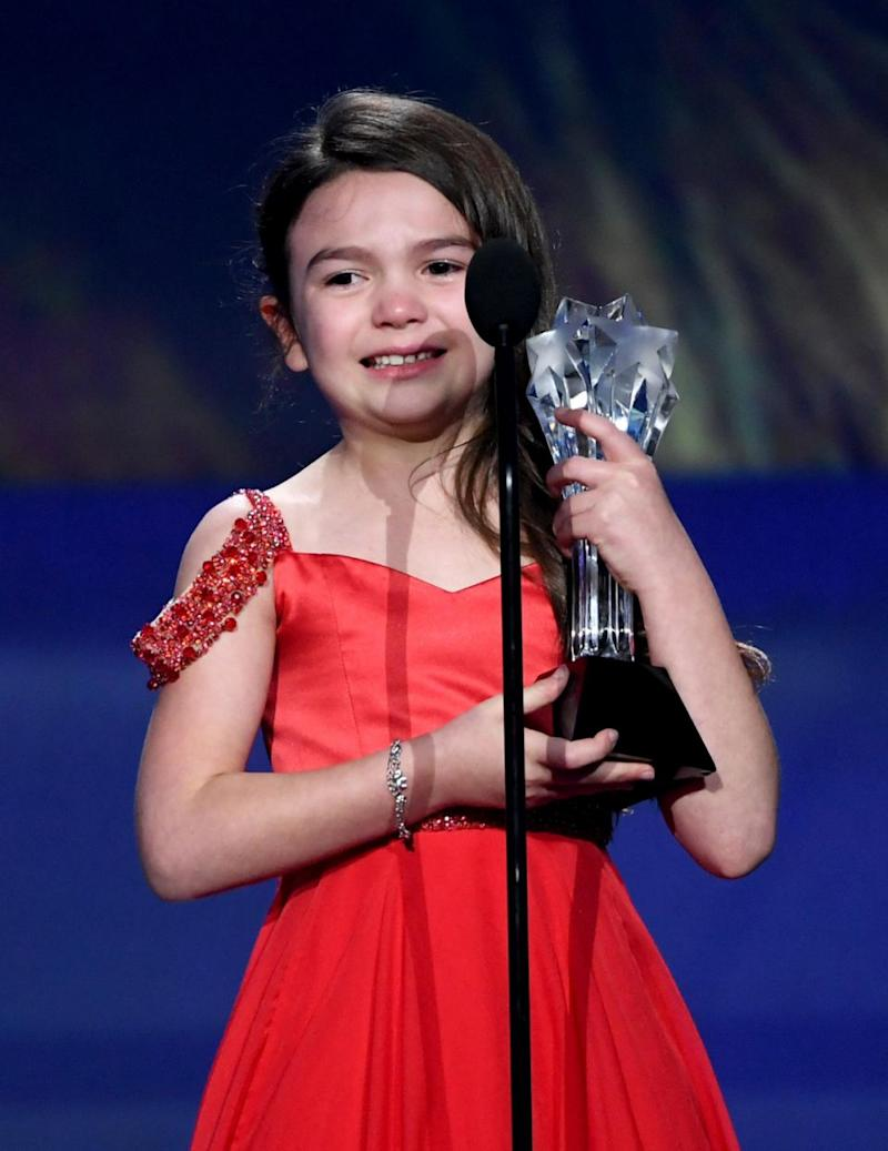 Seven-year-old Brooklynn Price couldn't contain her tears as she accepted the Critics' Choice Award for Best Young Actor/Actress. Source: Getty