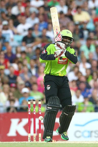 Chris Gayle of the Thunder reacts after being bowled during the Big Bash League match between Sydney Thunder and the Sydney Sixers at ANZ Stadium on December 30, 2012 in Sydney, Australia.  (Photo by Mark Kolbe/Getty Images)