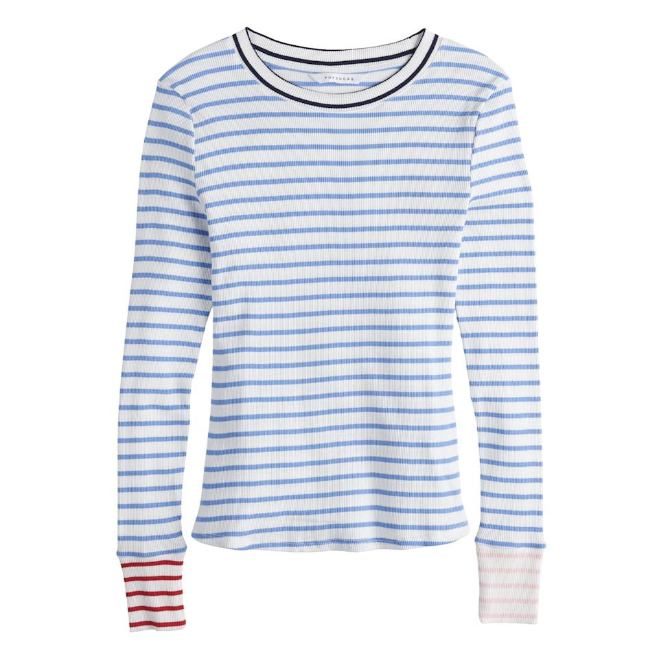 """<p>We're big fans of the <a href=""""https://www.popsugar.com/fashion/Striped-Tops-Under-40-46131532"""" class=""""ga-track"""" data-ga-category=""""Related"""" data-ga-label=""""https://www.popsugar.com/fashion/Striped-Tops-Under-40-46131532"""" data-ga-action=""""In-Line Links"""">striped tee</a> (as is <a href=""""https://www.popsugar.com/fashion/Mindy-Kaling-POPSUGAR-Kohl-Striped-Shirt-45968661"""" class=""""ga-track"""" data-ga-category=""""Related"""" data-ga-label=""""https://www.popsugar.com/fashion/Mindy-Kaling-POPSUGAR-Kohl-Striped-Shirt-45968661"""" data-ga-action=""""In-Line Links"""">Mindy Kaling</a>), and this <a href=""""https://www.popsugar.com/buy/POPSUGAR-Contrast-Stripe-Crewneck-Top-457817?p_name=POPSUGAR%20Contrast-Stripe%20Crewneck%20Top&retailer=kohls.com&pid=457817&price=21&evar1=fab%3Aus&evar9=46417838&evar98=https%3A%2F%2Fwww.popsugar.com%2Ffashion%2Fphoto-gallery%2F46417838%2Fimage%2F46417860%2FStriped-Tee&prop13=mobile&pdata=1"""" rel=""""nofollow"""" data-shoppable-link=""""1"""" target=""""_blank"""" class=""""ga-track"""" data-ga-category=""""Related"""" data-ga-label=""""https://www.kohls.com/product/prd-3378146/womens-popsugar-contrast-stripe-crewneck-sweater.jsp?color=Double%20Stripe&amp;prdPV=148"""" data-ga-action=""""In-Line Links"""">POPSUGAR Contrast-Stripe Crewneck Top</a> ($21, originally $36) is a fresh take on a classically nautical style. </p>"""