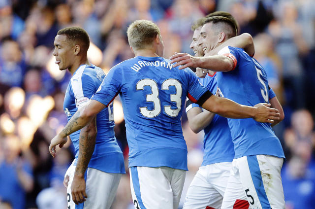 Football - Rangers v St Mirren - Ladbrokes Scottish Championship - Ibrox Stadium - 7/8/15 Rangers' Lee Wallace (R) celebrates scoring their second goal with Martyn Waghorn Action Images via Reuters / Graham Stuart Livepic EDITORIAL USE ONLY.