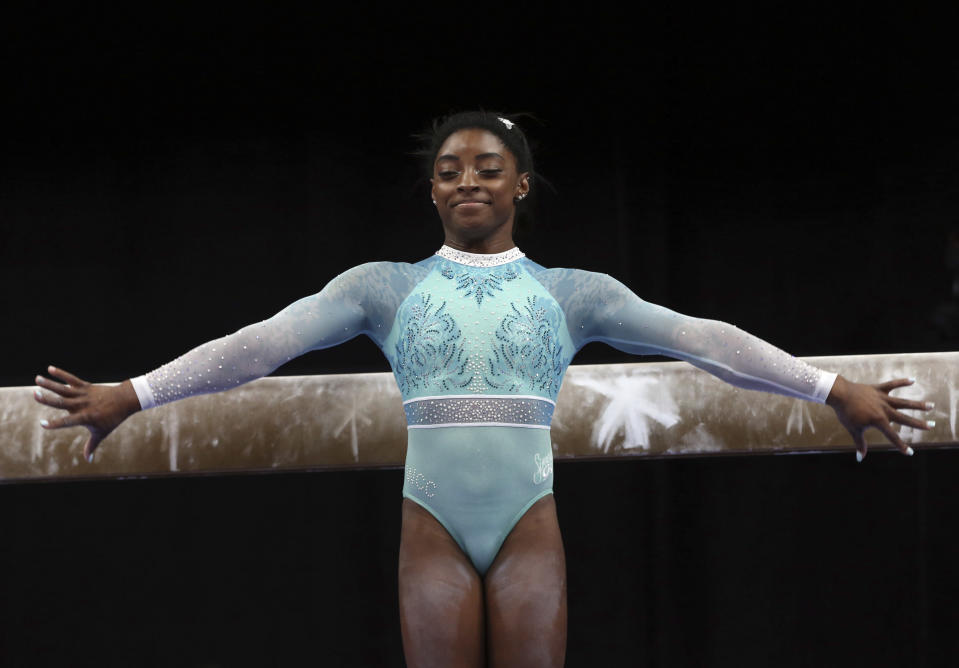 Simone Biles is back, and she has a message for the survivors of Larry Nassar's sexual abuse. (AP Photo)