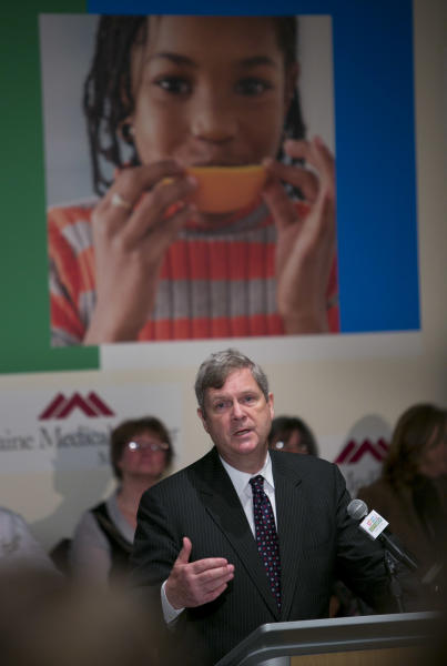 FILE - Agriculture Secretary Tom Vilsack speaks at Maine Medical Center, in this March, 14, 2013 file photo taken in Portland, Maine. Vilsack was expected in South Carolina on Tuesday to announce the expansion of the so-called StrikeForce initiative, a program intended to reduce poverty and improve life in rural areas, which already operates in 10 states. The program will now also be available in the Carolinas, the Dakotas, Alabama and Virginia. (AP Photo/Robert F. Bukaty, File)
