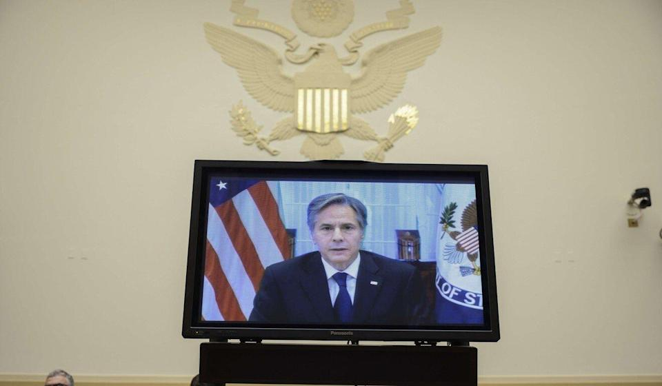 US Secretary of State Antony Blinken testifies virtually before the House Foreign Affairs Committee on Monday. Photo: Getty Images/AFP