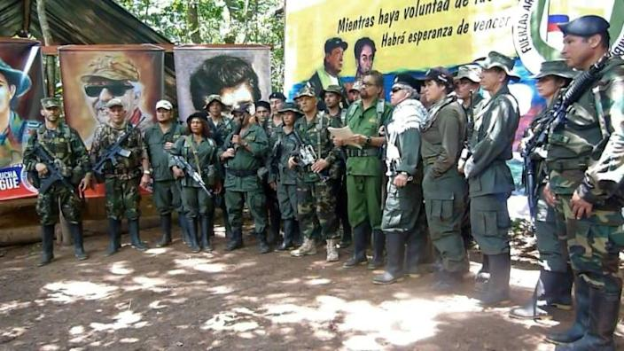 This YoutTube screen grab shows former senior commanders of the FARC rebel army announcing that they are taking up arms again (AFP Photo/-)