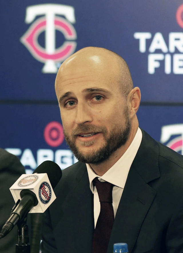 New Minnesota Twins manager Rocco Baldelli addresses the media after the team announced the hiring of the Tampa Bay Rays assistant coach during a news conference Thursday, Oct. 25, 2018, in Minneapolis. The 37-year-old Baldelli replaces Paul Molitor, who was fired after four seasons with a 305-343 record. (AP Photo/Jim Mone)