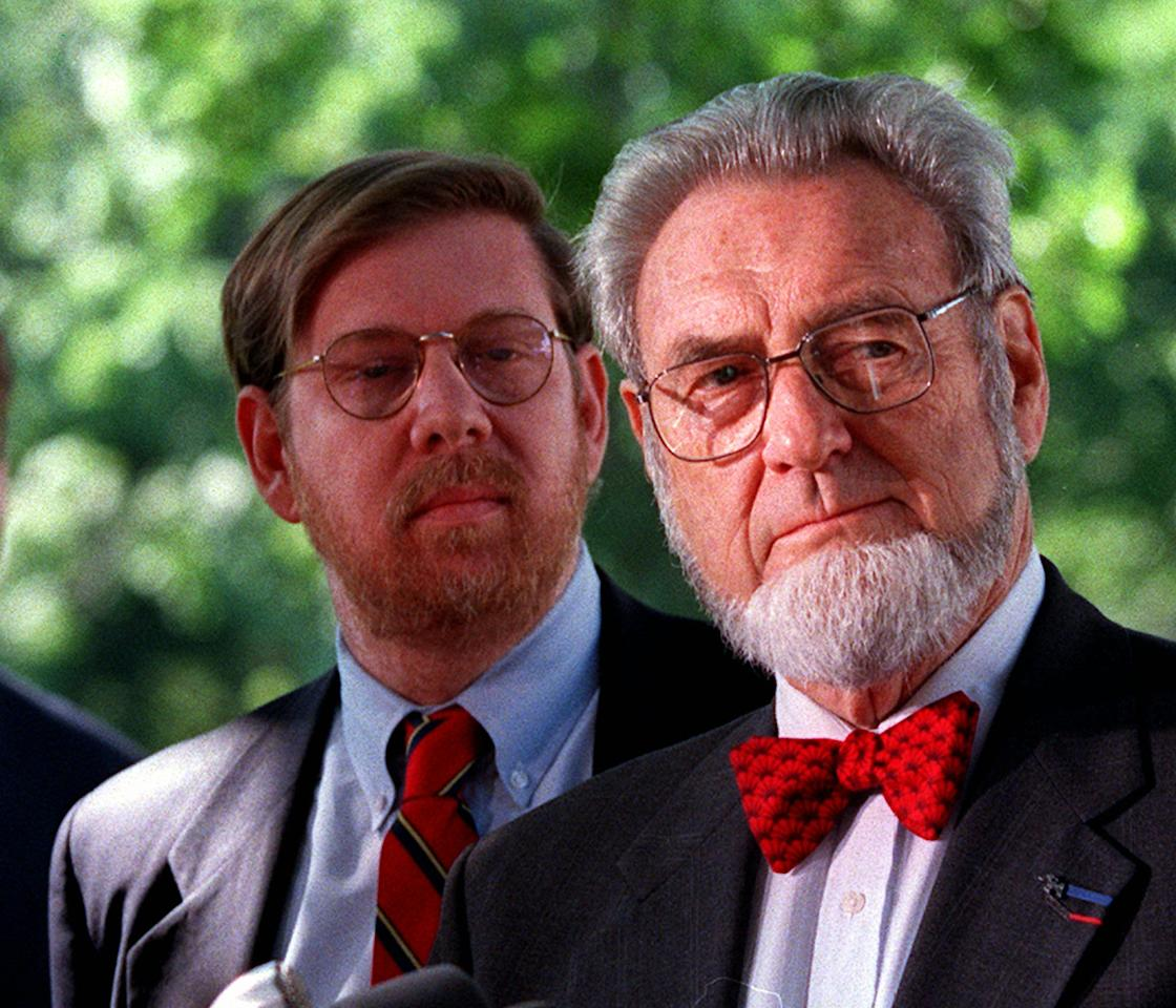 Former Surgeon General C. Everett Koop, right, accompanied by former Food and Drug Administration Commissioner David Kessler, meets reporters on Capitol Hill Tuesday May 19,1998 to discuss tobacco legislation and product liability protection. A fleeing spirit of bipartisanship on tobacco legislation exploded on the Senate floor Tuesday when Democrats discovered the Republican leaders wanted to scrap price supports that help tobacco farmers. (AP Photo/William Philpott)