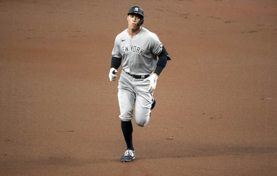 New York Yankees' Aaron Judge circles the bases after hitting a solo home run off Tampa Bay Rays starter Luis Patino during the first inning of a baseball game Tuesday, May 11, 2021, in St. Petersburg, Fla. (AP Photo/Steve Nesius)